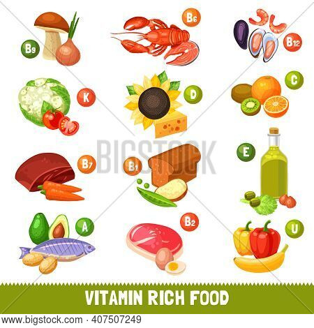Icons Set Of Different Food Products Separated By Main Vitamins Groups Flat Isolated Vector Illustra