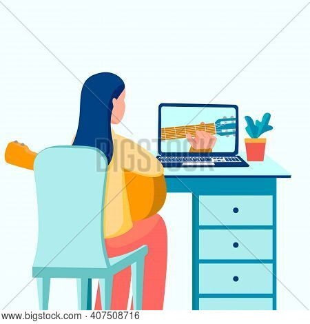 Young Woman Playing Guitar, Girl Learning Guitar Through Internet Course. Online Education, Hobby Ve