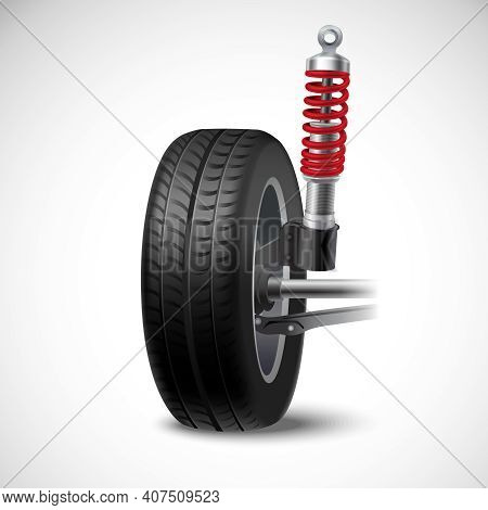 Car Suspension Realistic Icon With Wheel Tire And Shock Absorber Isolated On White Background Vector