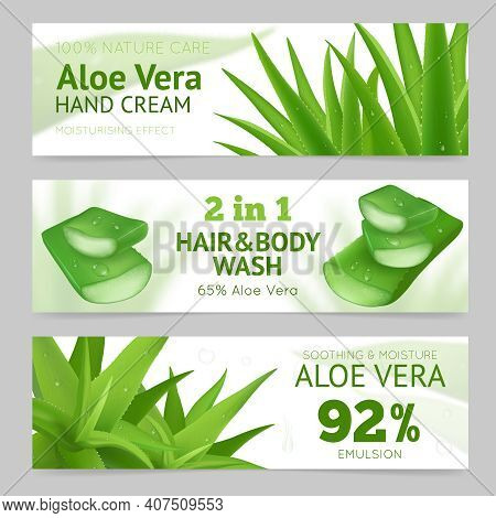 Horizontal Sliced And Whole Aloe Vera Leaves Banners Presenting Natural Hand Cream Hair And Body Was