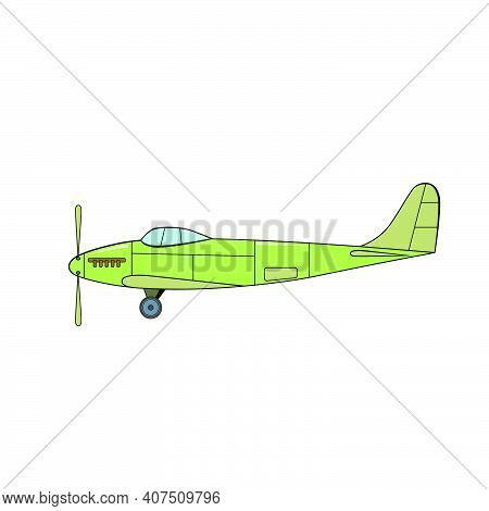 Green Aeroplane In Cartoon Style On A White Background.