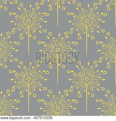 Dandelion Seeds Seamless Vector Pattern Background. Backdrop Of Abstract Folk Art Style Floating Her