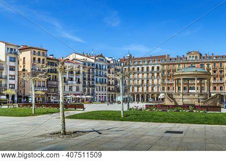 Castle Square (plaza Del Castillo) Is Main Square In Pamplona, Navarre, Spain