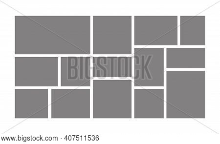Template Collage Frames For Moodboard, Photo Album And Image Gallery. Blank Photographs Layout. Vect