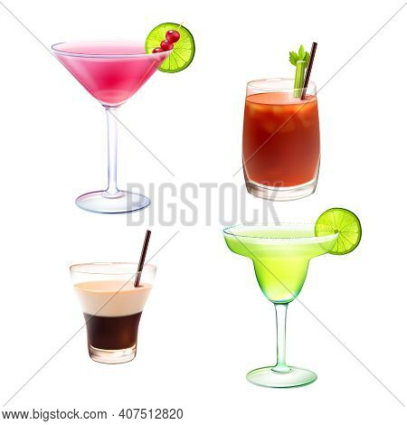 Cocktail Alcohol Drinks Realistic Decorative Icons Set With Cosmopolitan Bloody Mary B-52 Margarita