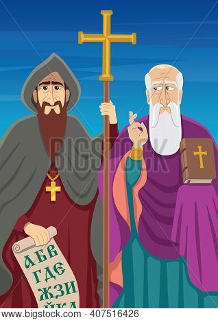 The Saint Brothers Cyril And Methodius Designers Of The First Slavonic Alphabet And Patrons Of Europ