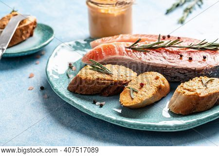 Appetizer With Salmon Mousse. Toast With Soft Cheese Spread, Mousse, Pate. Jewish Cuisine Restaurant