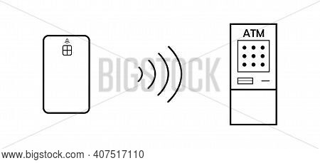 Contactless Payment Phone Card Terminal. Bank Cash Withdrawal Payment Of Payments Attachment