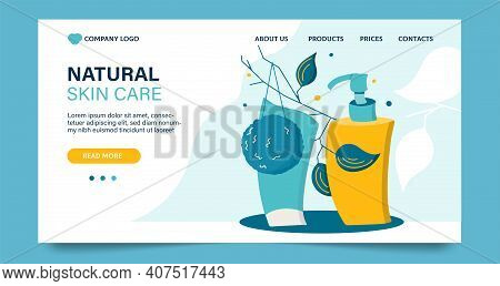 Website Template, Landing Page On Beauty Theme. Design Concept With Cleansing Cosmetic Products, Vec