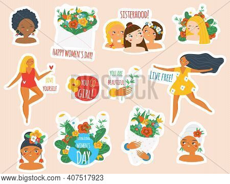 Female Stickers Collection. Big Set Of Women Badges For 8 March Celebration, Body Positive And Femin