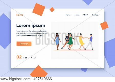 People Dancing Salsa. Leisure, Fun, Nightlife Concept. Vector Illustration Can Be Used For Topics Li