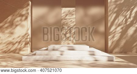Stone Steps Podium Mockup For Packaging And Cosmetic Presentation, Sunshade Shadow On Beige Wall. 3d