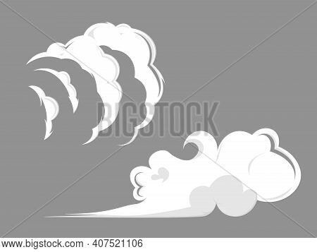 Smoke Clouds. Comic Steam Cloud, Fume Eddy And Vapor Flow. Set Of Stylized White Clouds.