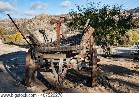 Scrappy Old Carriage Wagon On A Ranch In Baja California, Mexico
