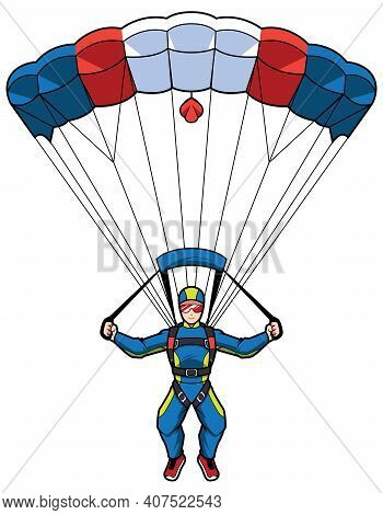 Professional Skydiver In Protective Blue Suit And Goggles Descends On Sport Parachute.