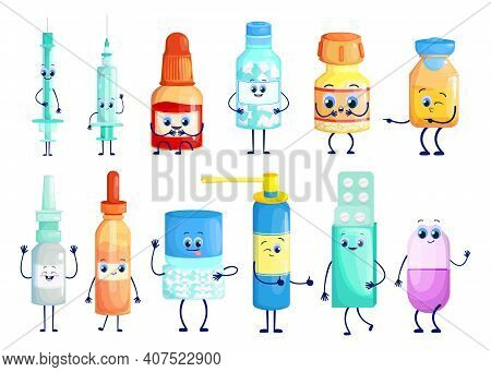 Pharmaceuticals Cartoon Characters Set. Cute Funny Pill Bottles, Tablet Blisters, Injection Syringe,