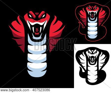 Mascot With Red Cobra Snake In 3 Versions.