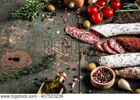 Traditional Sausage And Sausage With Mold. Fuet And Chorizosalami Sausages, Traditional Spanish Saus