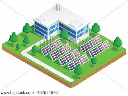 Illustration Of Solar Plant Producing Clean Energy.