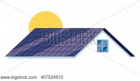 Symbol Or Mascot Of A Solar Roof Installation Company.