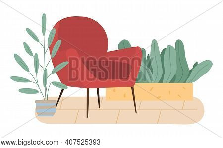 Retro Red Colored Armchair And Indoor Plants In Pots. Living Room Furniture Design Concept Modern Ho