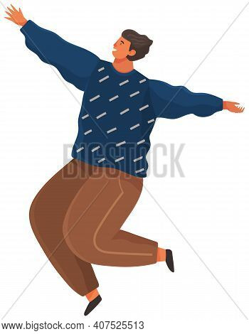 Cartoon Young Male Soaring And Flying In The Air Dreaming Person In Movement Pose Isolated On White.