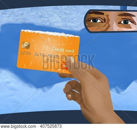 A Hand Holds A Credit Card That Was Used To Scrape Frost And Ice Off Of A Car Windshield. Illustrate