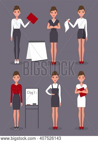 Businesswoman Collection Wearing Different Clothes, Business Cloth, Woman In Different Poses, With D