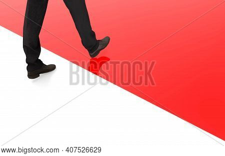 3d Rendering. A Business Man Who Keep Moving Forward From White To Red Area As Leadership Or New Opp