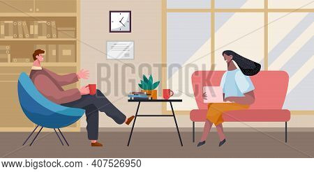 Businesswoman And Businessman Talking, Drinking Coffee, Tea Break Time In Office Workspace With Lapt