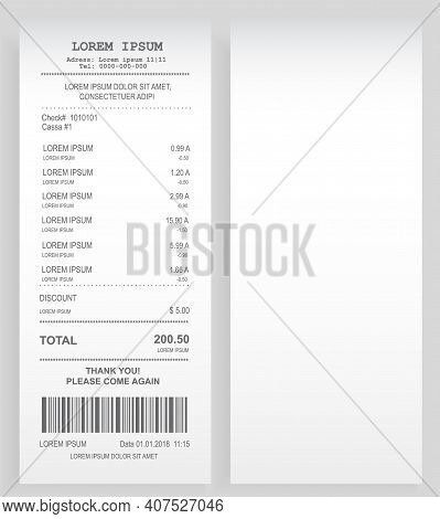 Payment Check 3d Paper Document. Buying Financial Invoice Bill Purchasing Calculate Pay Vector Isola