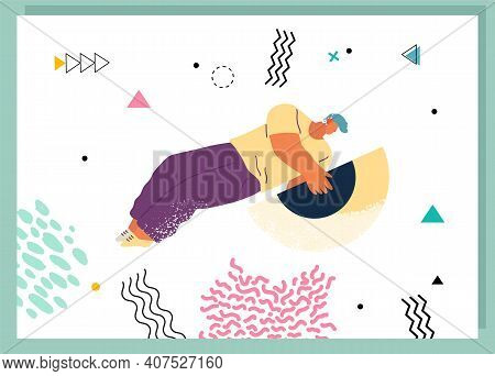 Young Man Holding And Organizing Abstract Circular Geometric Shape Virtual Flat Illustration. Person