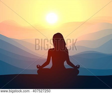 Woman Meditating In Sitting Yoga Position On The Top Of A Mountains. Concept Illustration For Yoga,