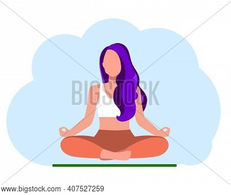 Woman With Purple Hair Meditating On Blue Background. Concept Illustration For Yoga, Meditation, Rel