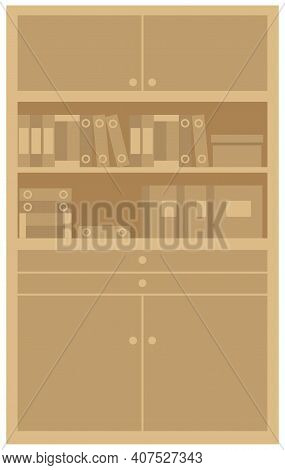 Wooden Bookcase With Stack Of Books. Education Or Bookstore Concept, Office Furniture Equipment With