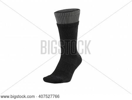 Black Color Socks Isolated On White Background. One Pair Of Socks. Set Of Black Socks For Sports On
