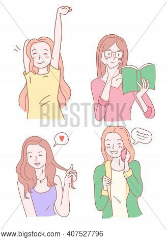Set Of Cute Girls. Pretty Girl With Raised Up Hand. Clever Woman In Eyeglasses Reading Book. Posing