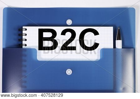 B2c. Text On White Paper In Blue Sheet