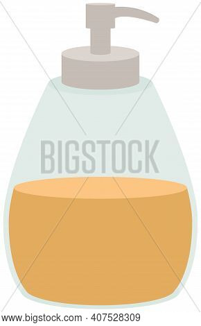 Facial Or Skin Care Product Vector Illustration. Dispenser Bottle With Cleaning Liquid Inside. Showe