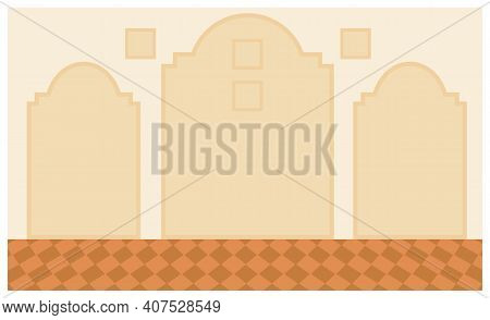 The Dining Room Design Flat Vector Illustration. Interior Layout With Floor And Wall Covering. Wallp