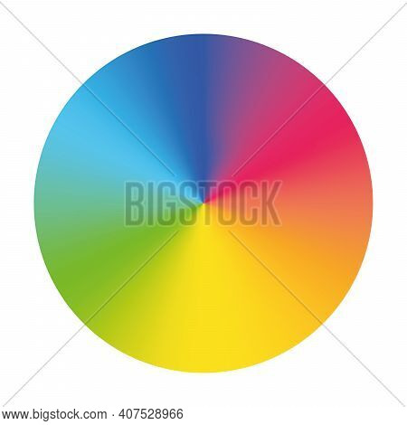 Color Wheel - Arrangement Of Color Hues Around A Circle Or Disc. Vector Illustration With Rainbow Li