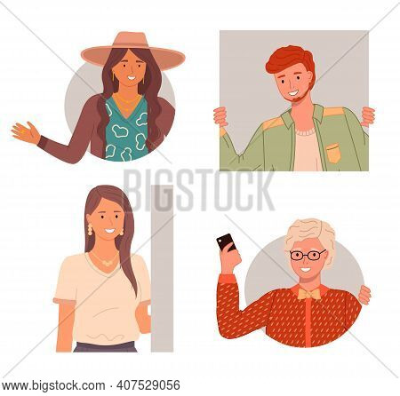 Set Of Happy Curious Looking People Peeping From Behind The Wall Or Peek Out The Window. Red-haired