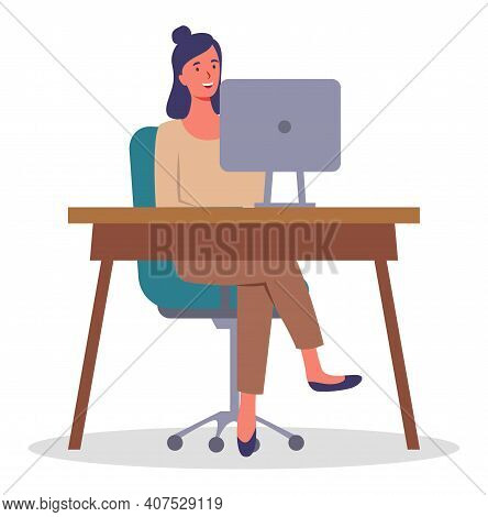 Office Woman At A Desk With A Laptop. Business Woman Or A Clerk Working At Her Office Table Flat Sty