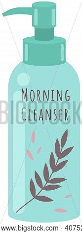 Face Cleanser In A Pump Container Vector Illustration. Means For Cleansing The Skin In The Morning.