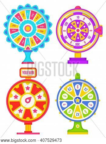 Set Of Fortune Weels With Winning Numbers And Multi-colored Sectors, Flat Style Illustration. Game F