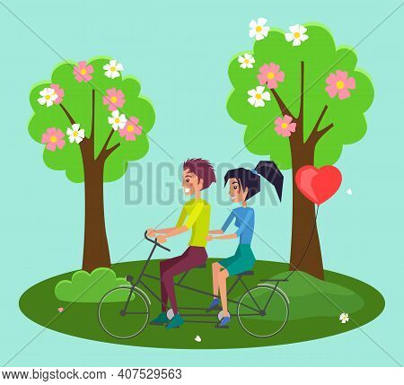 Tandem Bicycle Riders Cartoon Characters. Girl And Guy Riding On Double Bike On The Road In A Forest