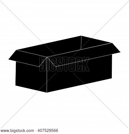 Carton Box Silhouette Isolated On White Background. Vector.