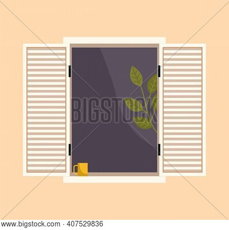 Window With Homeplant And A Cup Of Coffee On The Windowsill. Large Window With Curtains And Open Shu