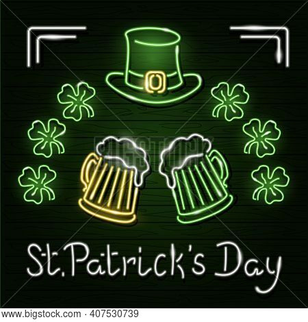 St. Patricks Day Neon Design With Pints Of Beer, Leprechauns Hat And Clover On A Wooden Plank Wall.