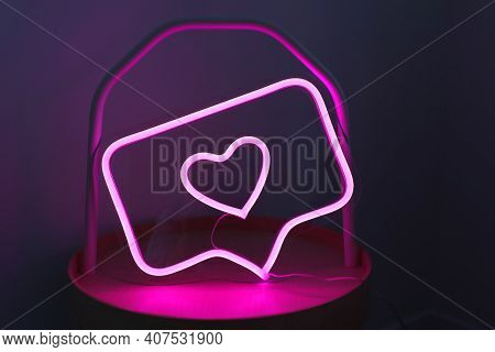 Neon Sign Pink Like Instagram Heart In The Decor. Trendy Style. Valentine Day. Neon Sign. Custom Neo
